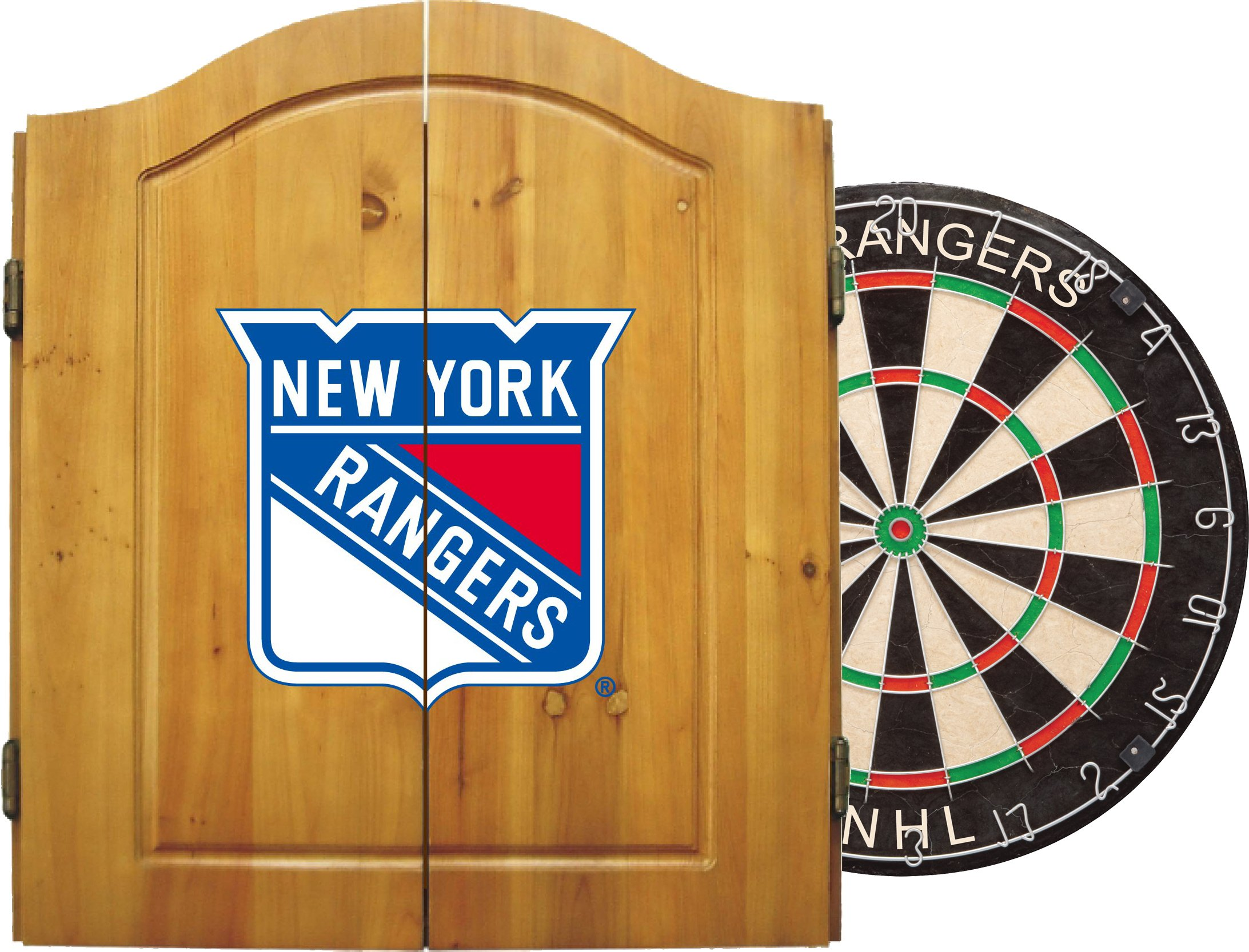 Imperial Officially Licensed NHL Merchandise: Dart Cabinet Set with Steel Tip Bristle Dartboard and Darts, New York Rangers