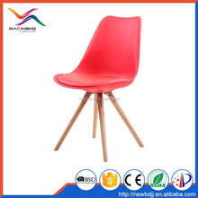 Factory Wooden Leg White Plastic Dining Chair With Cushion