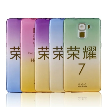 New products phone accessories fading gradient color changing back clear soft tpu case for Huawei Honor 7 case cover