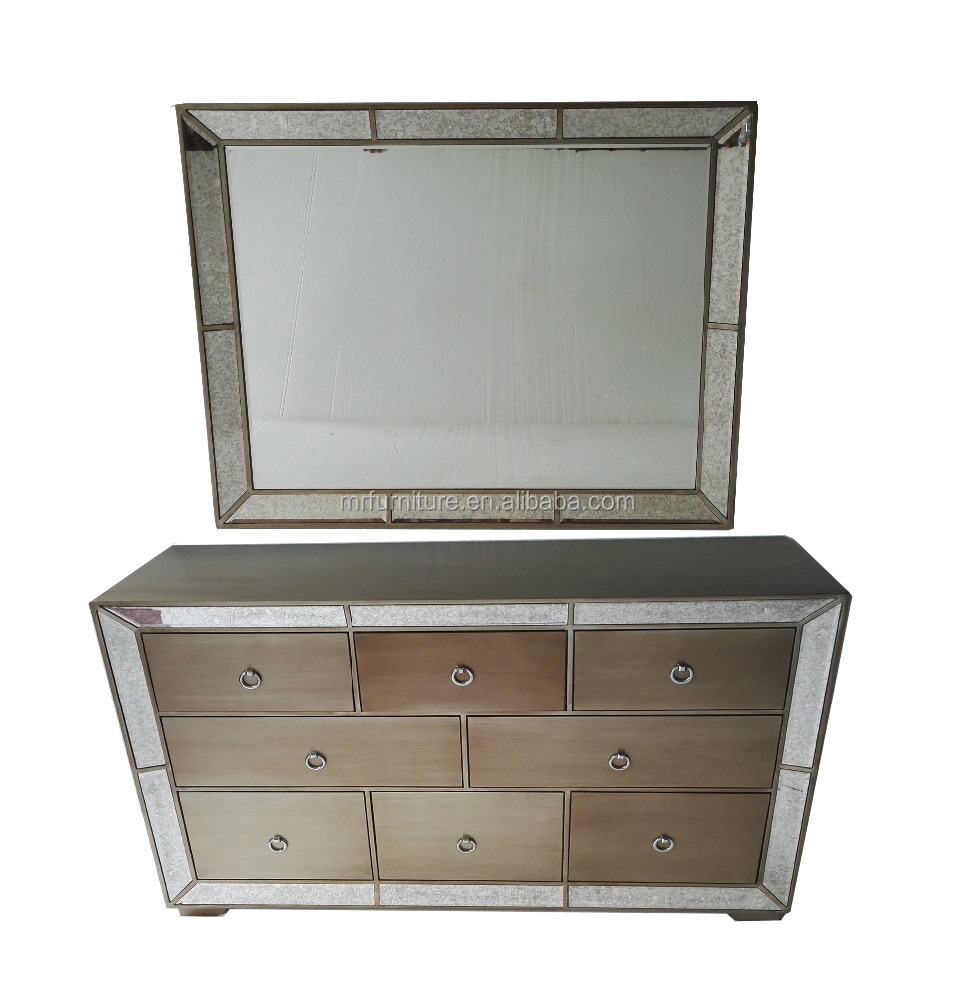 8 Drawers Hollywood Antique Mirrored Bedroom Dressers Furniture Set ...