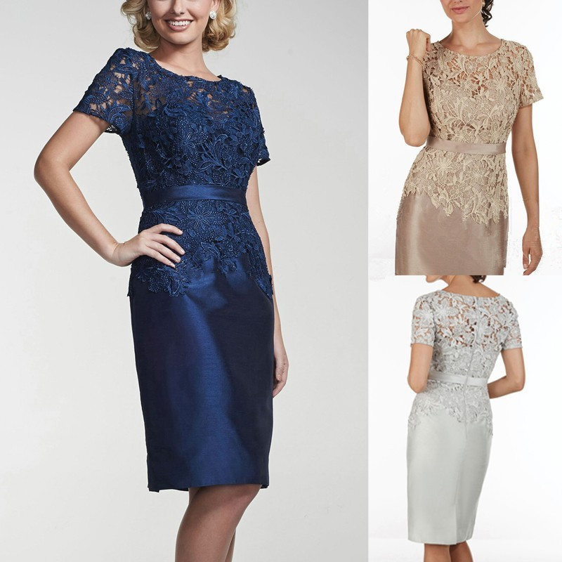 Navy Blue Sheath Mother Of The Bride Dresses Short Tea
