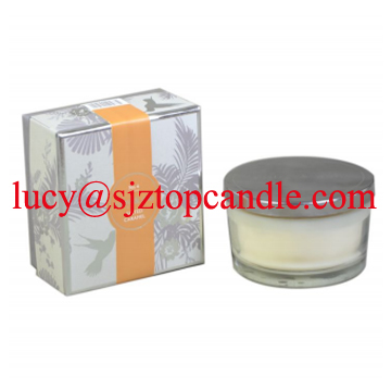 series of lux scents candle in glass jar