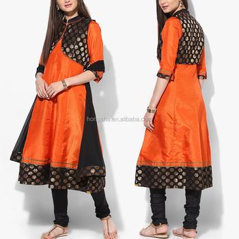 Orange Gedruckt Viskose Churidar Kameez Dupatta Mit Jacke Designs ...