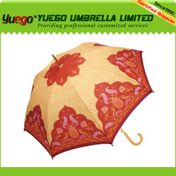 Gifts Items Red and Orange Cupola Automatic Open Designer Cane Umbrella