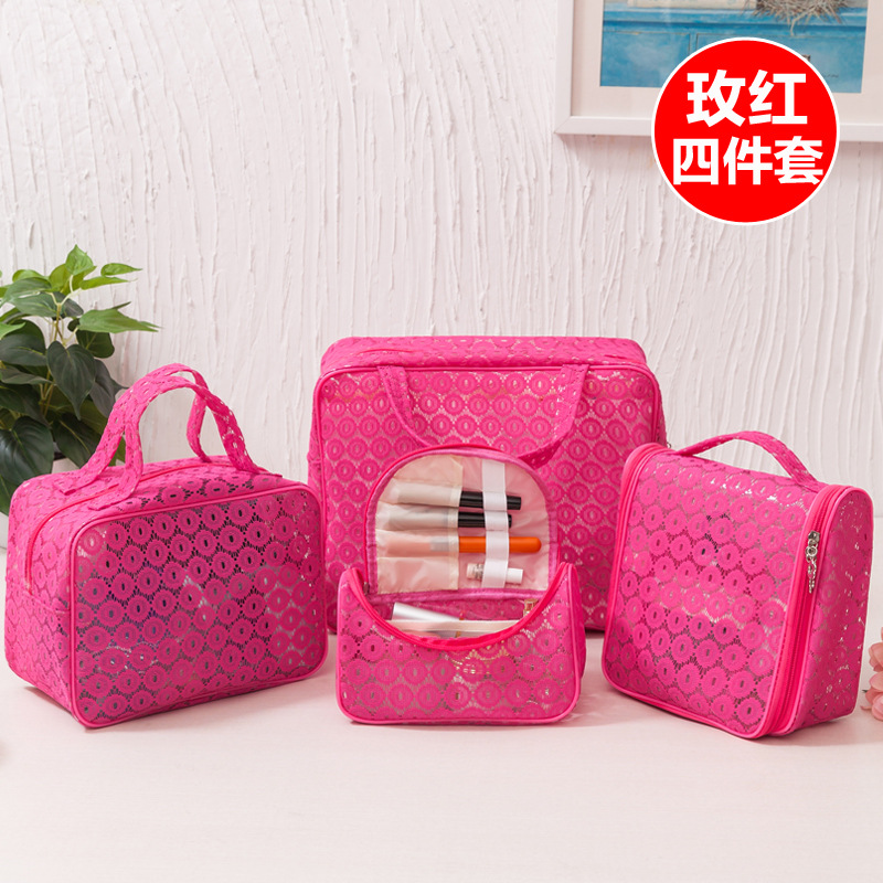 Mesh Lace Style Design Mixed Size Travel Make Up Pouch Cosmetic Bag Set
