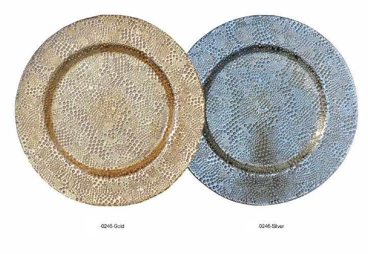 Haonai Round Baroque Gold and Silver Glass Charger Plate White Glitter Glass Charger