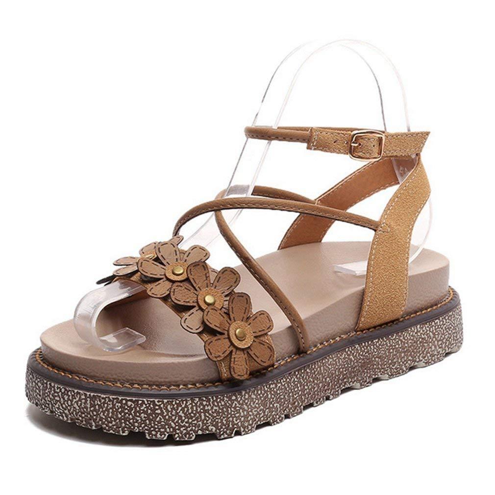 CYBLING Women's Platform Buckle Sandals Fashion Flower Strappy Open Toe Ankle Strap Wedge Shoe