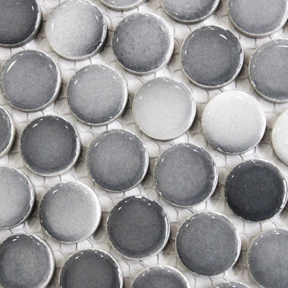 Penny Round Tile Backsplash: Gray-penny-round-tile-light-grey-gradient-dark-gray