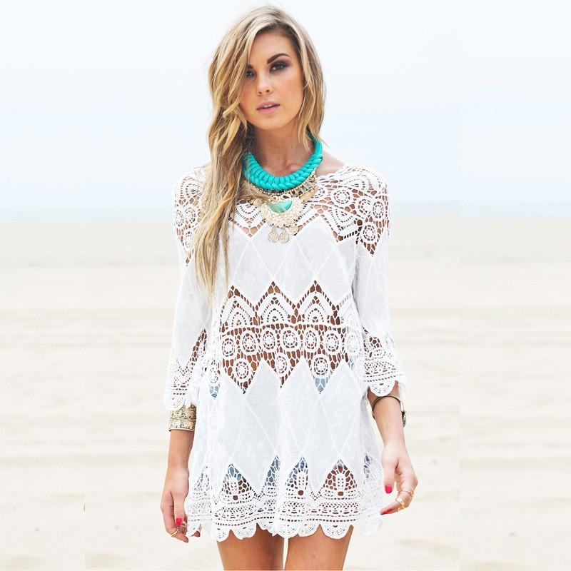 980ff85b1860 Nuevo mujeres playa verano vestidos empalme casual mini vestido blanco sexy  ahueca hacia fuera Vestido de playa Pareos ropa mujer Baño de salida