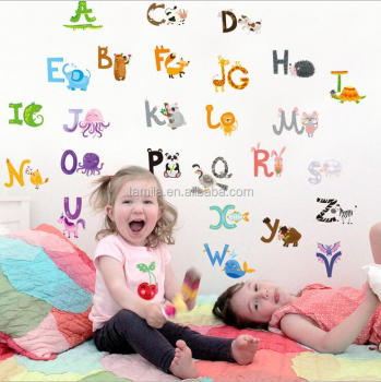 2017 Enfants Dessin Animé Animal Sticker Mural Anglais Alphabet