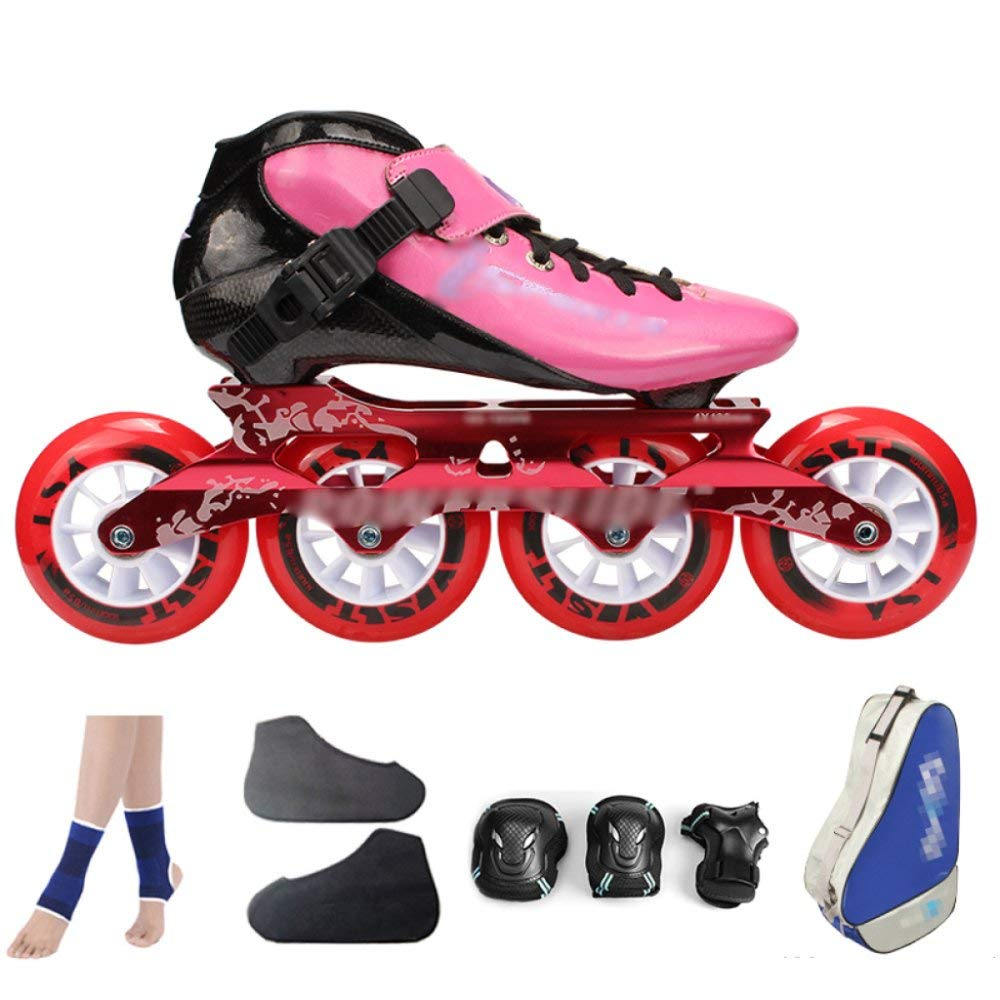 ZCRFY Carbon Fiber Speed Skating Shoes Racing Shoes Professional Adult Children's Large Roller Skating Shoes Roller Skates Inline Roller Skates Pink,PinkA-34