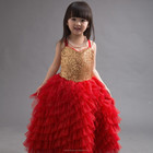Q11 girls red tulle golden sequins party dress