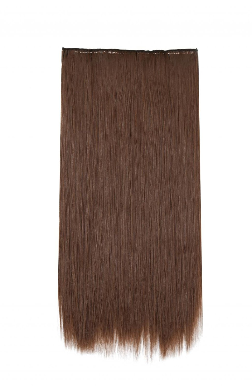 LOUISE MAELYS One Piece Long Straight Hair Extension Wavy Wig 5 Clips Hairpiece Brown