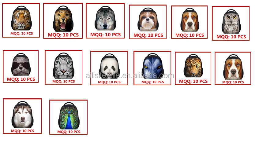 Lovely Animal Face Backpack/Cute 3D Animal Face Backpack/Animal School Bags For Teenagers boys