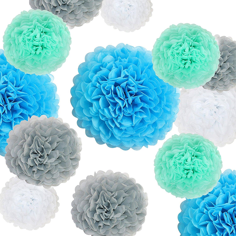 "VIDAL CRAFTS 20 Pcs Tissue Paper Pom Poms Kit (14"", 10"", 8"", 6"" Paper Flowers) for Birthday, Baby Shower, Baby Boy Nursery Decor - Aqua Blue, Mint, Grey, White"