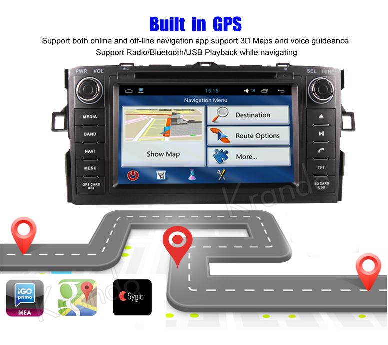 Krando Android 7.1 car multimedia dvd gps navigation for toyota auris 2007-2011 radio player WIFI 4G LTE 2G RAM KD-TA713