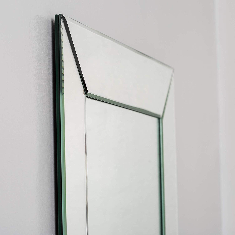 66922be6573b Get Quotations · Svitlife Avie Modern Clear Glass Frameless Bathroom Mirror  Mirror Bathroom Wall Vanity Beveled Framed Decor West