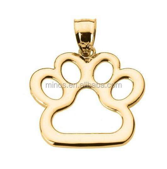 Polished 10k Gold Plated Dog Paw Print Charm Pendant