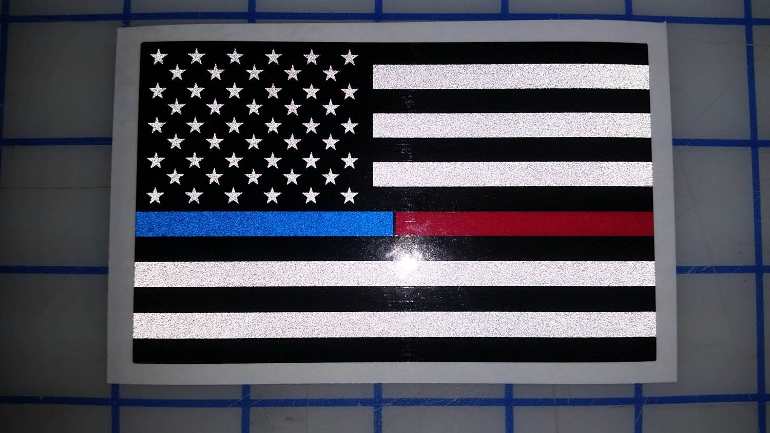 Get quotations · i make decals subdued us flag reflective decal with thin blue red line stripe