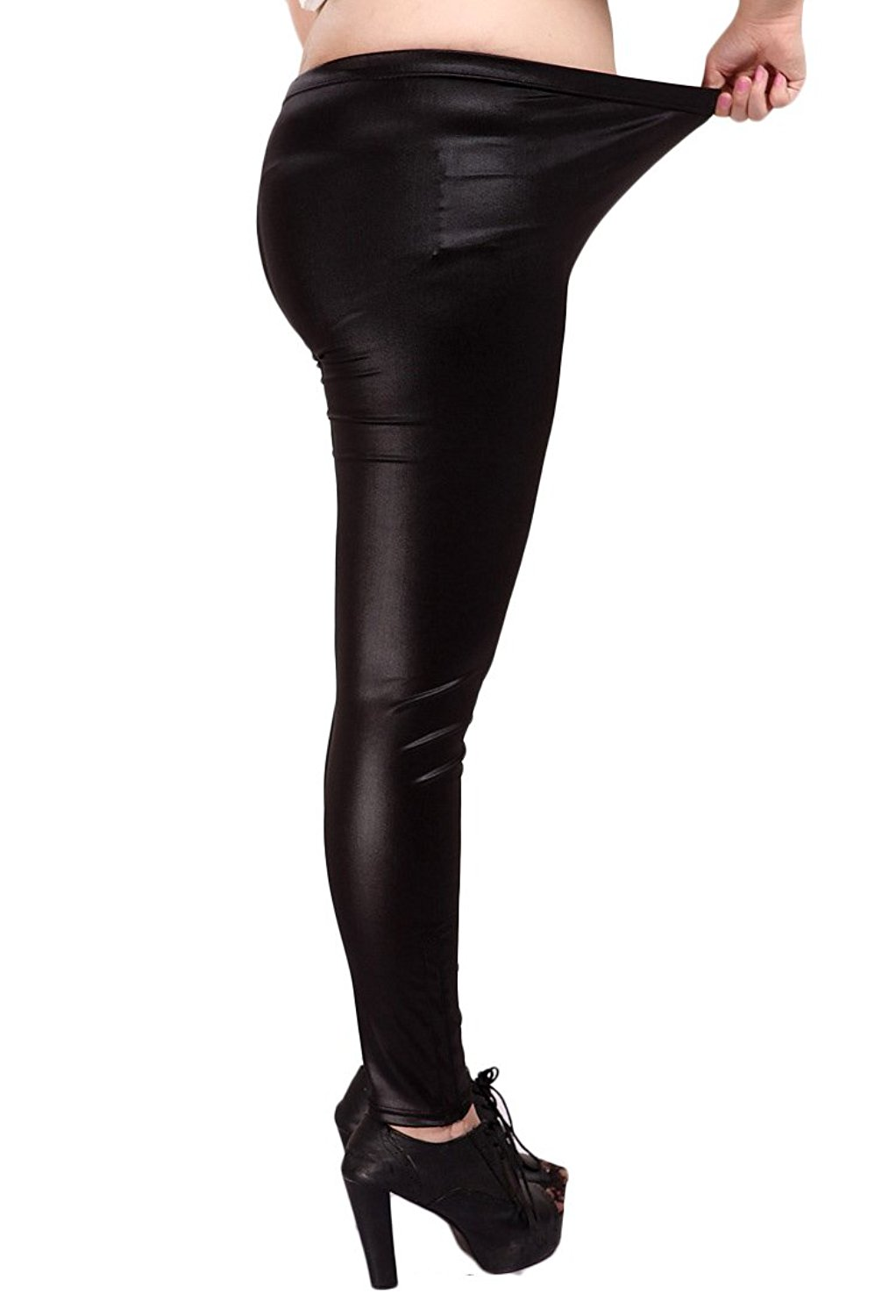 87b15288b52f9 Get Quotations · YMING Women s Matte Liquid Leggings Faux Leather Leggings  Plus Size S-3XL