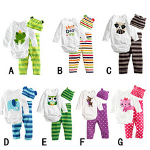 Free shipping baby clothes cotton cartoon variety patterns Long-sleeved clothes + pants+ hat 3 sets Romper crawling baby clothes