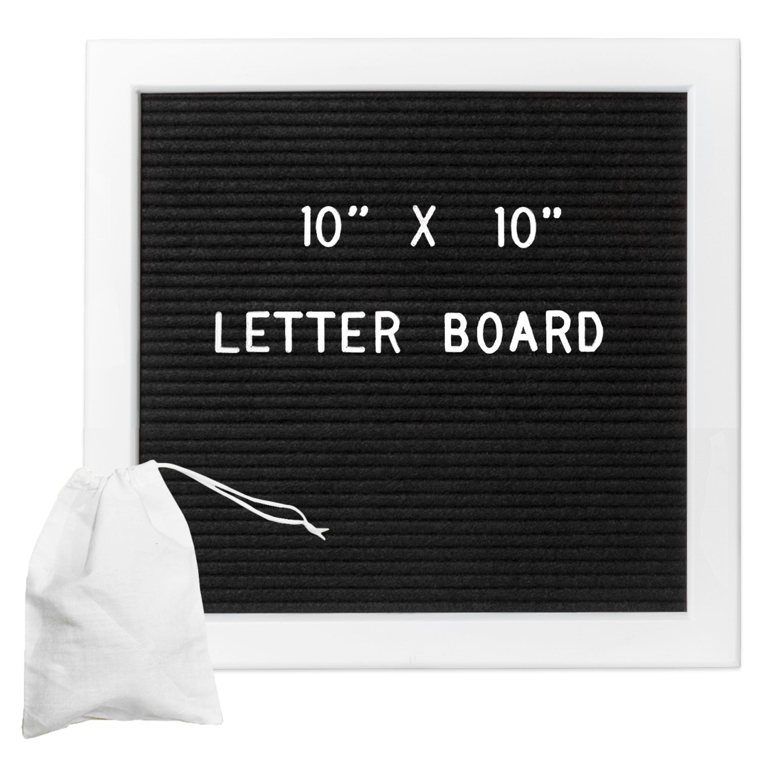 Felt Letter Board with 308 Letters, Numbers & Symbols - White Framed 10x10 Inch Changeable Message Board with Oak Wooden Frame,Plus Free Letter Bag