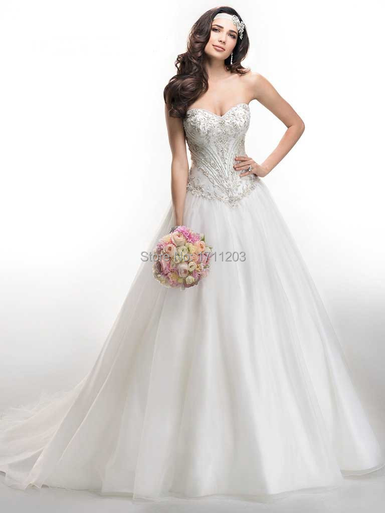 Exquisite Beaded 2015 Wedding Dresses Sweetheart Off The Shoulder Sexy Long Bridal Dress Plus Size Marriage Gowns Vestido Noiva