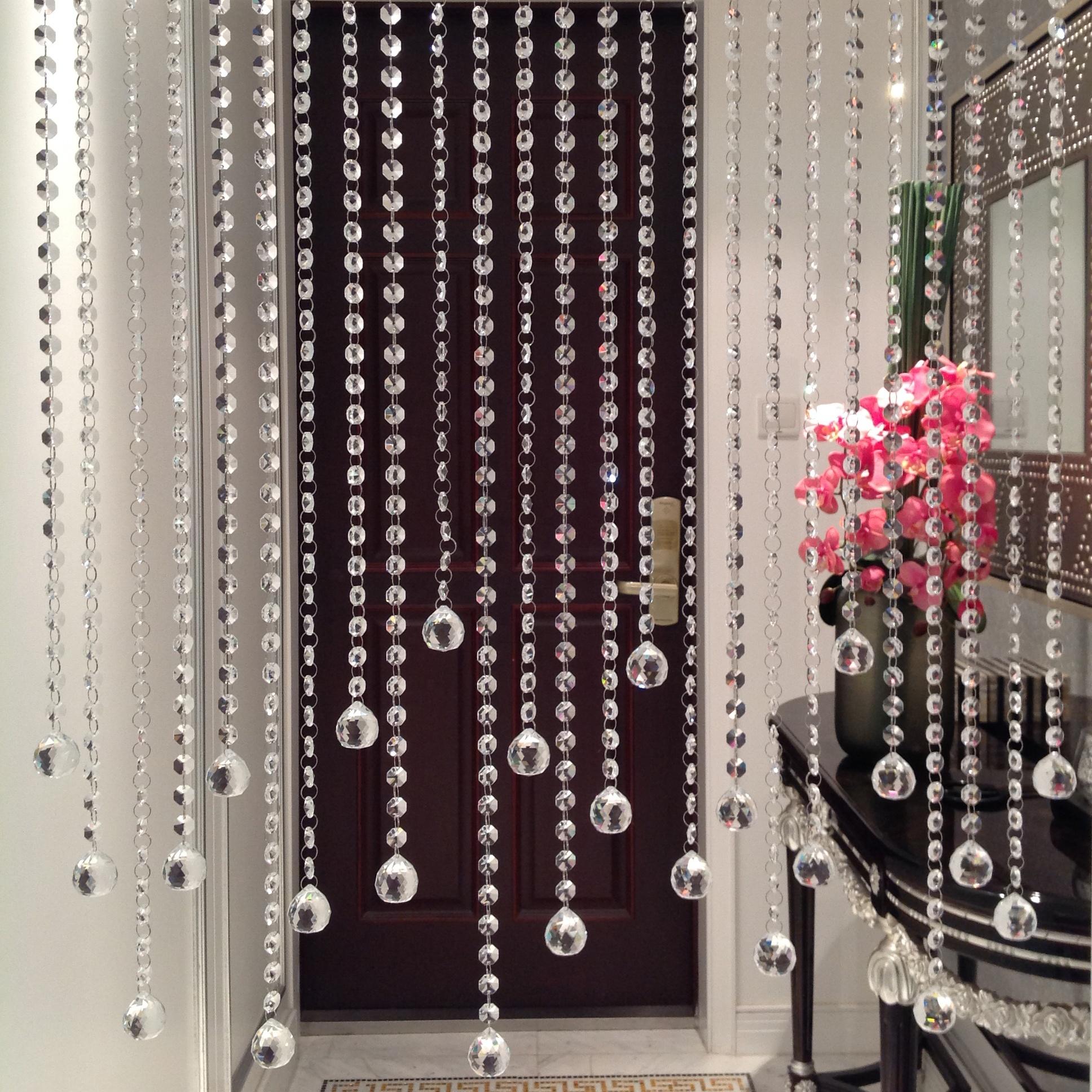 cortina de cuentas de la partición de cristal