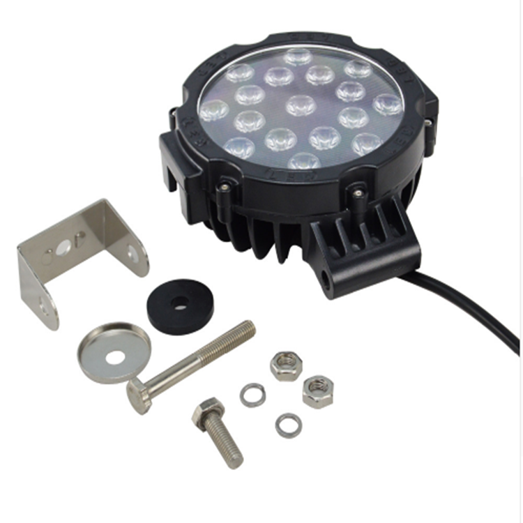 6.3 Inch Round 51W LED Work Light 12V 24V DC Spot LED-Lamp for Car Truck Trailer SUV Offroad Boat ATV etc