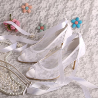 Princess Lace Shoes White Wedding with Ribbon