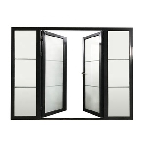 China factory used exterior french doors for sale steel window grill design restaurant entrance