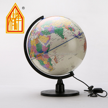 32cm Pvc World Globe With Lighting Lamp