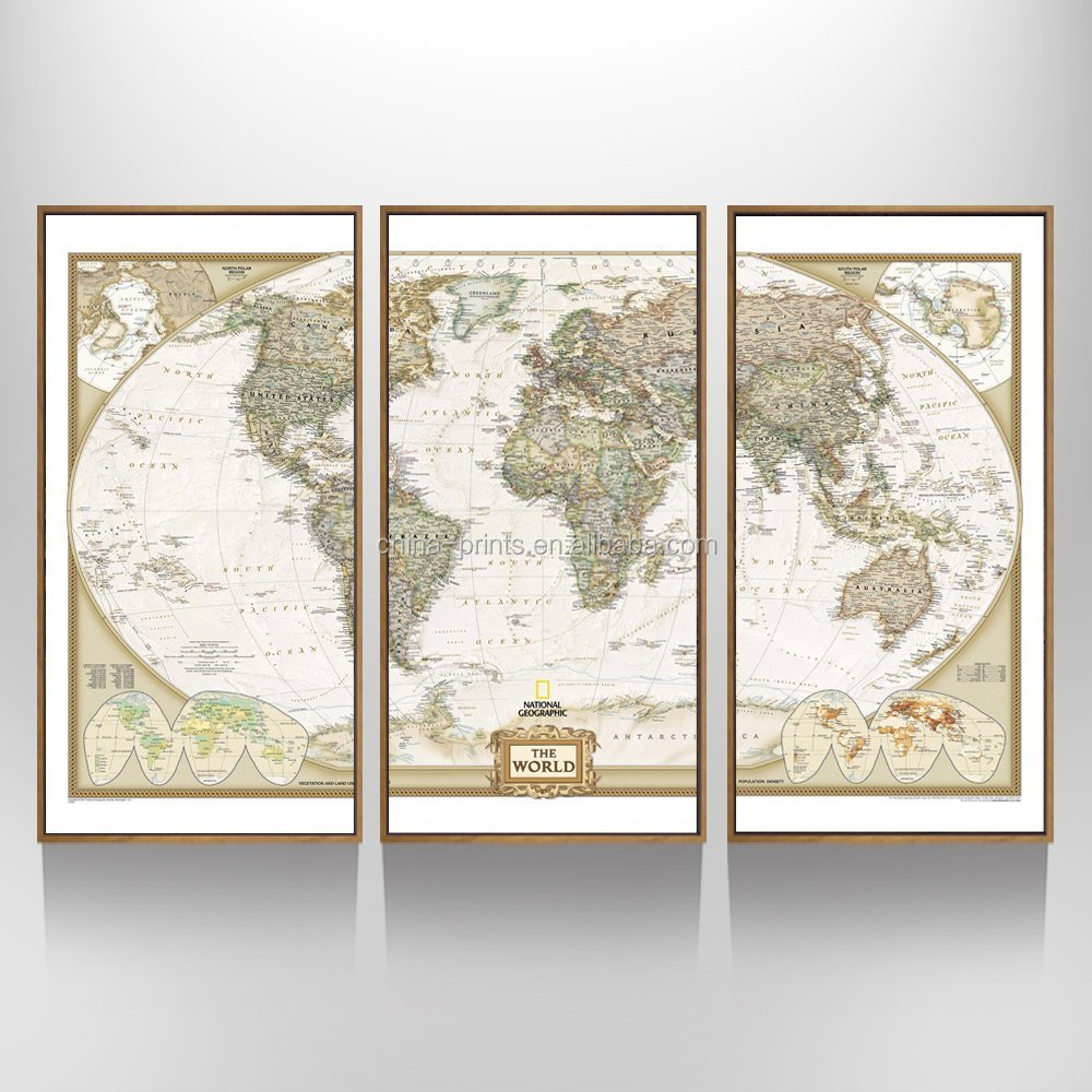 3 Panels Large Map Wall Art Prints Mural Map Poster Printed On Canvas Home Office Wall Decor With Floater Frame Ready Hanging On - Buy Map Wall Art Prints ...  sc 1 st  Alibaba & 3 Panels Large Map Wall Art Prints Mural Map Poster Printed On ...