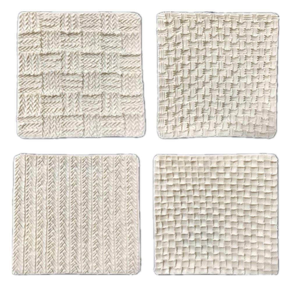 4 Pack Sweater Lines Weaving Series Pattern Silicone Mold, Fondant Cake, Pie DIY Decoration Baking Mat,Chocolate,Mousse,Cookie Baking Tools~9.59.5cm,Random Color
