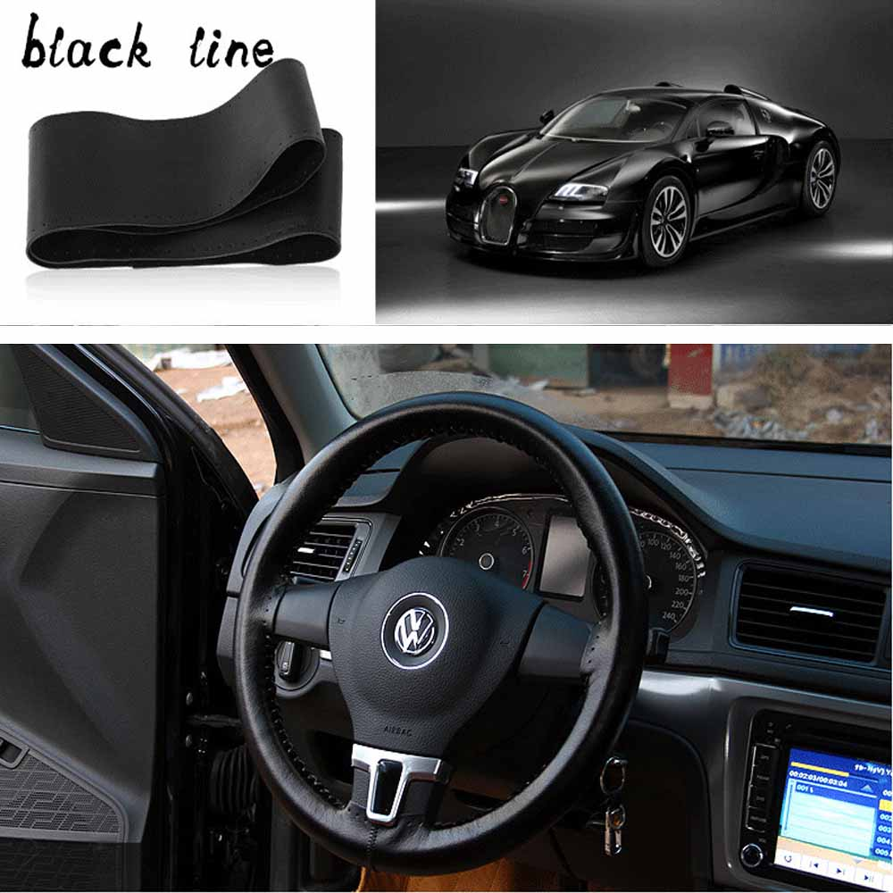 Genuine Leather Steering Cover Advanced Hand-stitched Car 38CM Volante Esportivo Steering Covers Wheel Protective Cover Diameter