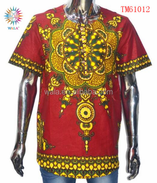 TM61012- (5) Bazin Clothes Comfortable Fabric Traditional African Printed Shirts For Sale