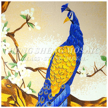 Golden Shinny Peacock Cutting Decor Mosaic Art Tile Picture
