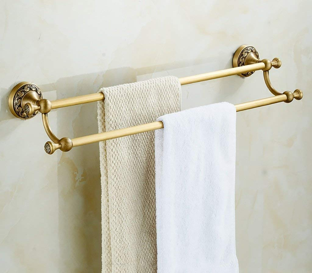 EQEQ Towel Rack Towel Rack/Double Rod Fully The Copper in The European Style Rooms Thickened Bath Towel Holder to The Wall Assemblies Bath Rooms Towel Holder (2) Color