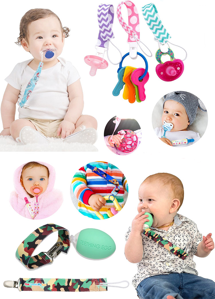 customized plastic clip baby teether pacifier clip chain holder
