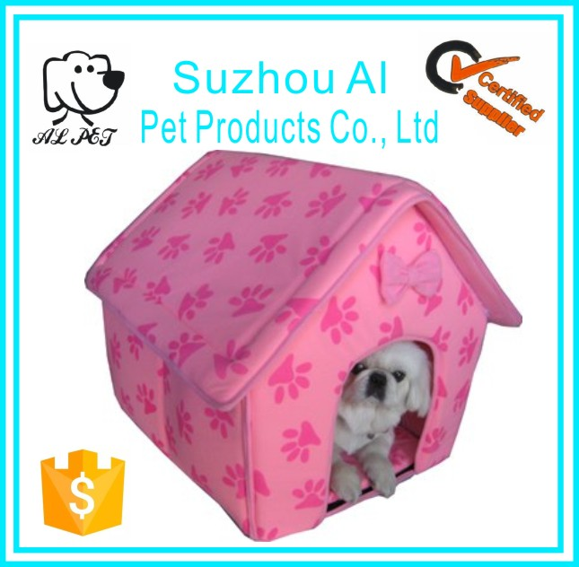 Wholesale New Collapsible Pink Paw Prints Pet Dog Puppy Cat Kitten Bed Shelter House