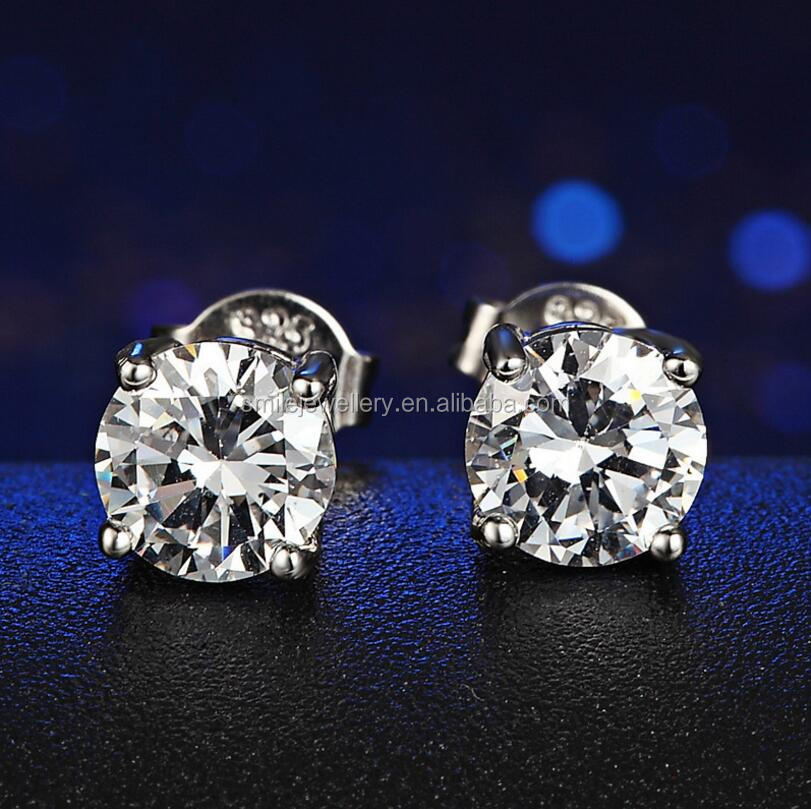 Wholesale Fashion 925 Sterling Silver round Zircon Stud Earrings For Girl