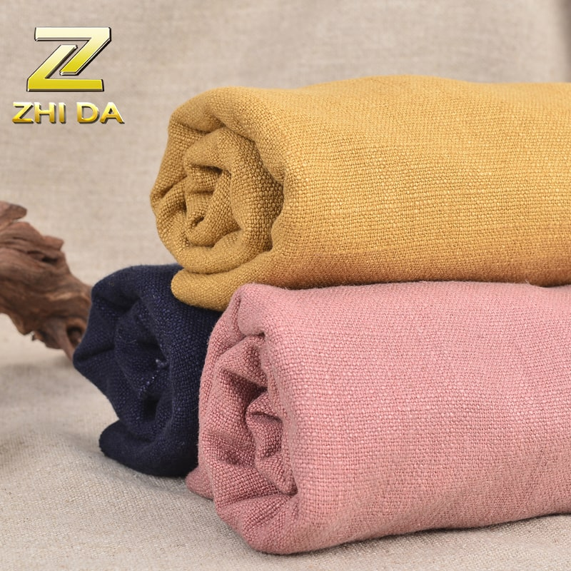 Factory Wholesale 100% linen Reactive Dyeing canvas with washed treatment for linen table covers