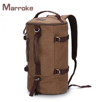 Marroke Outdoor Cylinder Shape Sport Cotton Canvas Waterproof Leisure Duffle Travel Backpack Bag