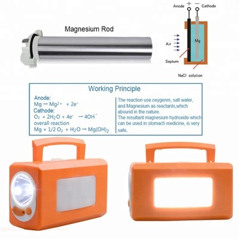 Power reserve emergency LED lantaarn draait op zoutwater Magnesium air batterij Zout Water Powered LED Lamp