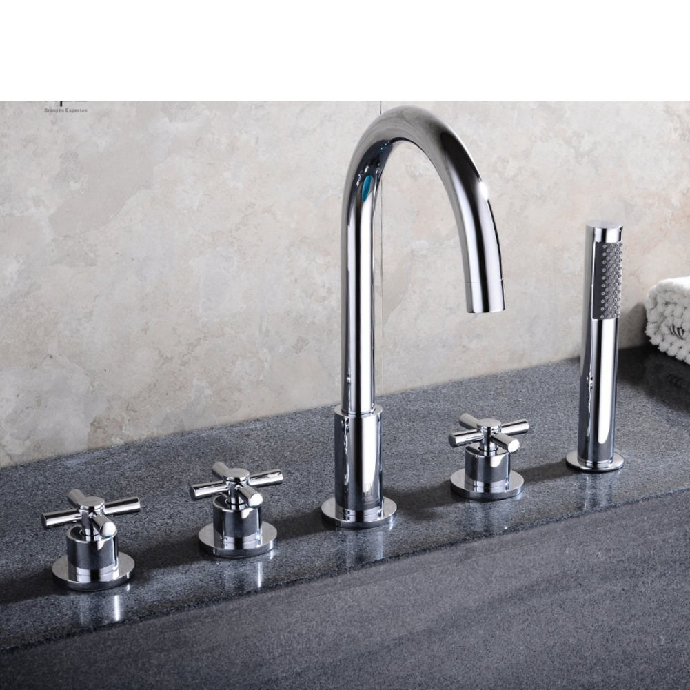 All copper hot and cold split/Sit Down/Cylinder edge formula/Five-piece bathtub faucet/Bathtub faucet floor edge-B