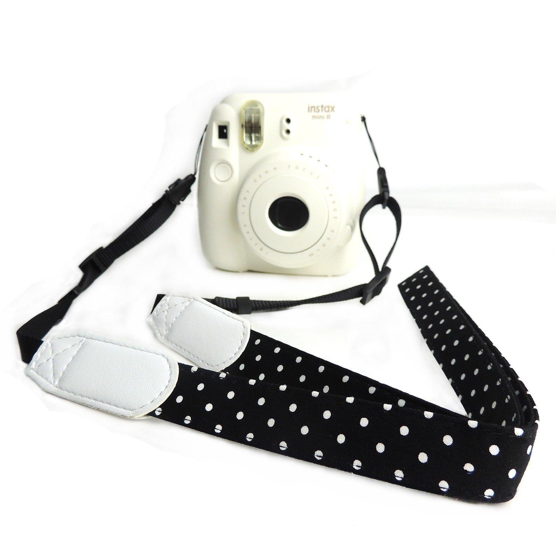 CHMETE Dot Print Universal Camera Neck Strap for Fujifilm Polaroid Instax Mini (Black)