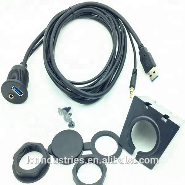 AUTO BARCA Dash Flush Mount USB 3.5mm 2.0 AUX cavo di estensione piombo pannello di montaggio