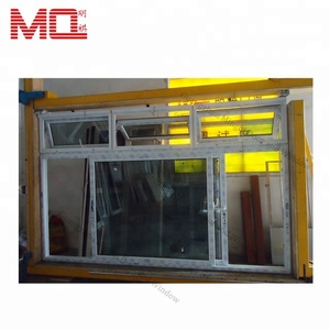 Top hung awning window clear tempered glass cheap sale pvc sliding window