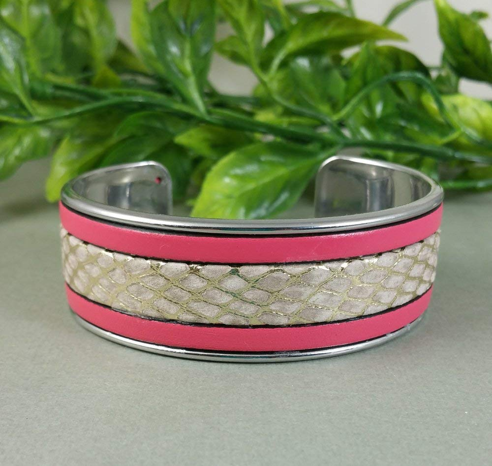 fcbba9ae8b48a Get Quotations · Pink Gold Snakeskin Sparkle Metallic Natural Triple  Leather Unisex Cuff Bangle Bracelet