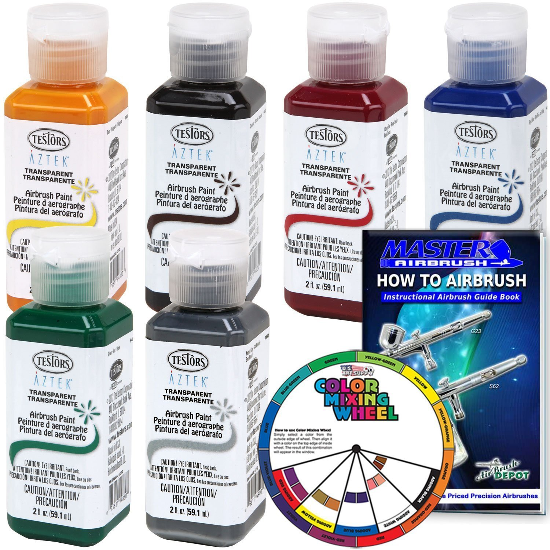 Buy 6 Color Testors Aztek Premium Transparent Acrylic